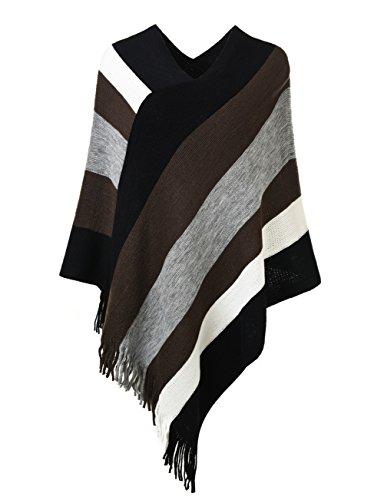 Ferand Gestreift Gestrickter Poncho Schal im Wickeldesign mit gefransten Seiten für Frauen, Braun & Grau