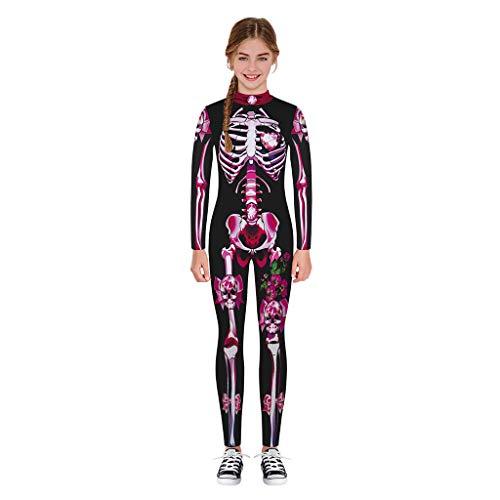 Divertido Pijama,K-Youth Mameluco Adolescente Chica Chico Disfraz Halloween Esqueleto Body Bebe Niña Manga Larga Ropa Bebe Niño Invierno Bodies Niños Pelele para Niñas Mono (Rosa Caliente, 9-10 años)