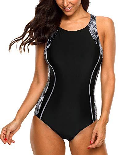 BeautyIn Badeanzug für Damen Endurance einteiliger Push up Schwimmanzug Slim Vorgeformte BH-Cups, Schwarz/Weiß, XX-Large(50-52)