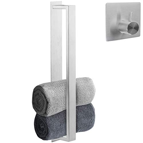 smartpeas Gästehandtuchhalter /Bad Handtuchhalter ohne Bohren – Selbstklebende Handtuchstange aus Edelstahl +Plus: Haken