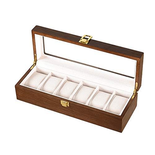 Secret night Caja de Reloj, 6 tragamonedas Reloj Funda con Valet, Vidrio Reloj de Madera Cubierto Mostrar Caja Reloj Organizador, Joyería Estuche de Almacenamiento