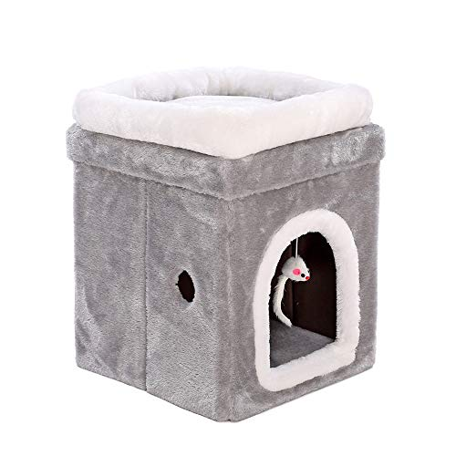 Pet Tent Cave Bed for Cats Dogs, Cat Tree Condo Furniture Kitten Activity Tower Scratching Posts Fold And Store Cat Tower with Mouse Toy for Kittens Large Cats And Pets,L