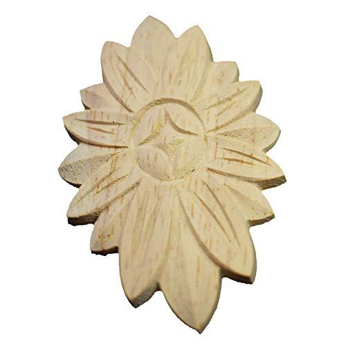 Zzx Holzschnitzerei Blume geschnitzt Holz Geschnitzte Formteile Oval Onlay Applique Unlackierter Holzschnitzerei Aufkleber Für Rahmen Tür Schrank Home Decor Applique 5 stücke
