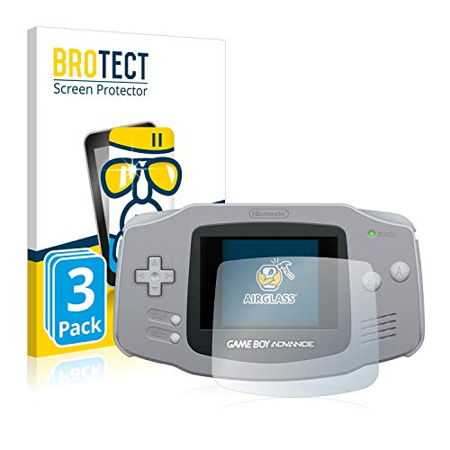 BROTECT Panzerglas Schutzfolie kompatibel mit Nintendo Gameboy Advance GBA (3 Stück) - AirGlass, extrem Kratzfest, Anti-Fingerprint