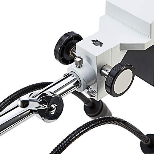 SWIFT Optical Professionelles Niveau 10X / 20X-Vergrößerung Binokulares Stereo-Mikroskop mit Weitwinkel 10X und 20X Okularen, 2 Flexible LED-Licht, Schwenkbarem Auslegerarm, und Kamerakompatibilität