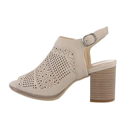 Ital Design Damenschuhe Sandalen & Sandaletten High-Heel Sandaletten, 3818-, Kunstleder, Creme, Gr. 37