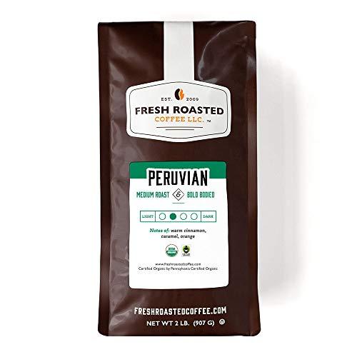 Fresh Roasted Coffee LLC, Organic Peruvian Coffee, Medium Roast, Whole Bean, 2 Pound Bag