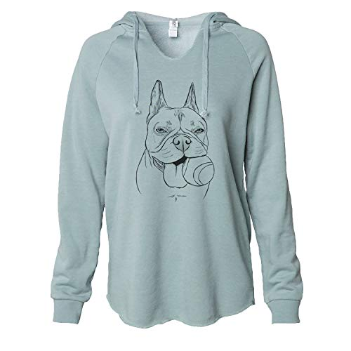 Inkopious Happy Franco The French Bulldog - Women's Cali Wave Hooded Sweatshirt -Sage Medium