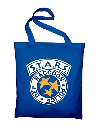 Styletex23 STARS Raccoon Police Department Logo Jutebeutel Baumwolltasche, royalblue