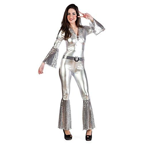 Disco Diva Kostüm Damen Silber Overall zur 70er Mottoparty - S