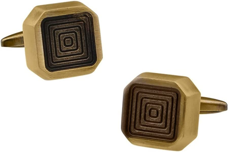 GYZX Square Labyrinth Cufflinks Fashion Men's Gifts Casual Dating Business Banquet French Shirts Cuff Links (Color : Yellow, Size : As Shown)