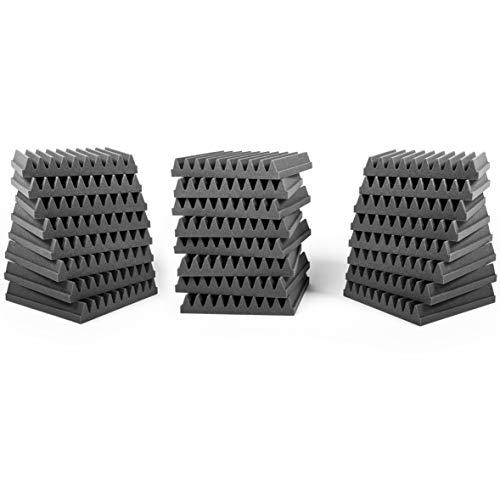 AcousPanel Pack de 24 paneles acústicos compuestos por espuma acústica de grado profesional. Dimensiones 30x30cm (4 cm de espesor), color gris antracita. Autoextinguible.