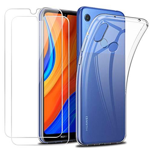 Reshias Funda para Huawei Y6s con Dos Cristal Templado Protector de Pantalla,Suave TPU Transparente Gel Silicona Anti-arañazos Protectora Carcasa para Huawei Y6s (6,09 Pulgadas)