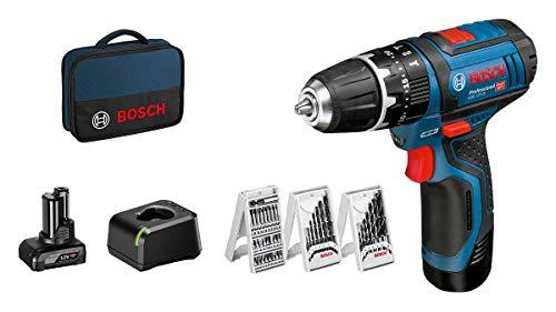 Bosch Professional 12V System Akku-Schlagbohrschrauber GSB 12V-15 (inkl. 1x2.0 Ah Akku, 1x4.0 Ah Akku, Ladegerät GAL 12V-20, 39tlg.-Zubehör-Set, in Tasche)