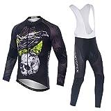 SKYSPER Ciclismo Maillot Hombres Jersey + Pantalones Largos Culote Mangas...