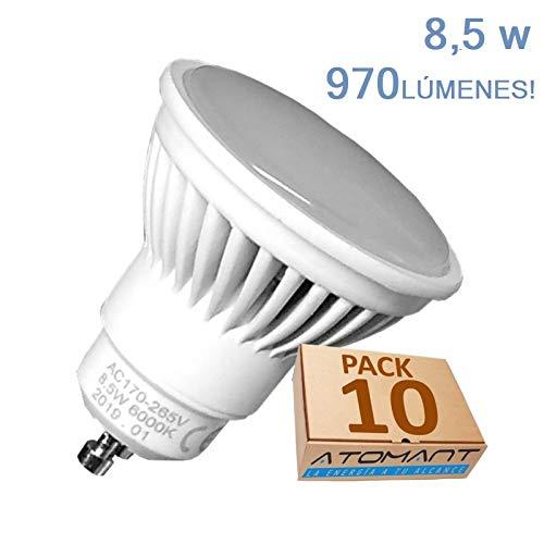 Pack 10x GU10 LED 8,5W Potentisima. 970 lumenes. Color Blanco Neutro (4500K). Única con ángulo 120 grados. A++
