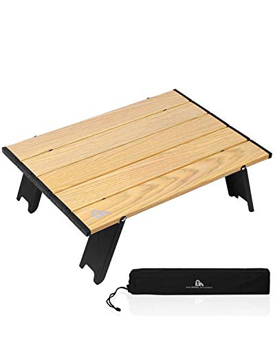 iClimb Ultralight Compact Mini Beach Picnic Folding Table with Carry Bag, Two Size (Wood Grain - S)
