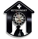 Reloj De Pared Vintage Accesorios De Decoración del Hogar Diseño Moderno Reloj De Vinilo Colgante Reloj De Pared Reloj Único 12' Idea de Regalo。 Clínica Veterinaria