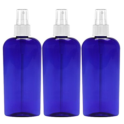 MoYo Natural Labs 8 Oz Large Mist Spray Bottle Refillable Reusable Empty 8 oz Fine Mist Bottle 3 Pack Cobalt Blue Oval 8 OZ Pack of 3