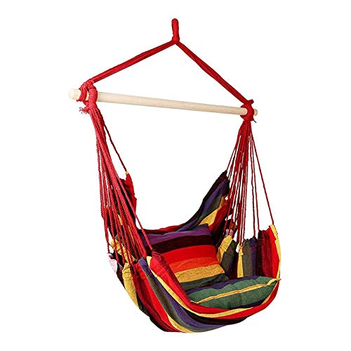 Silla mecedora de lienzo Silla colgante Hamaca con 2 almohadas Jardín interior y exterior, Silla colgante de ocio al aire libre Silla dentro de la silla mecedora Hamaca. ( Size : A:100*130CM )