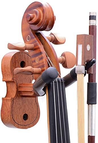 Supporto da parete per violino viola, gancio per violino viola, supporto per violino in mogano, con gancio per arco, supporto per violino da parete per casa e studio (mogano)