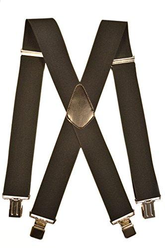 Olata Extra Lange, Extra Breite XXL Hosenträger X-Form mit 4 Starken Clips - 5cm. Schwarz