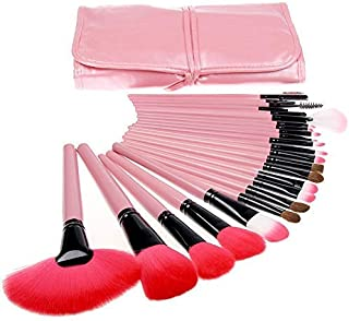 MACPLUS Makeup Brush Set with Storage Pouch (Pink)-24 Pieces