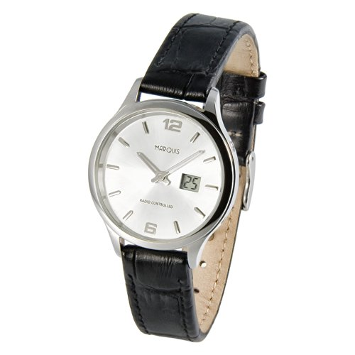 Elegante MARQUIS Damen Funkuhr (Junghans-Uhrwerk) Schwarzes Lederarmband, Gehäuse aus Edelstahl 964.4782