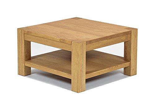 Naturholzmöbel Seidel Couchtisch Beistelltisch mit Ablage,Rio Bonito, 80x80cm Höhe 45 cm, Pinie Massivholz, geölt und gewachst, Wohnzimmer Tisch Farbton Honig hell
