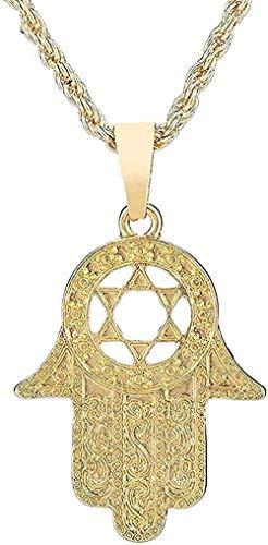 NC110 Collar Mano de Miriam Colgante Collar Joyas Color Oro Puro Mano Fátima Cadena Estrella Israel Colgante Unisex Regalo Collar Regalo