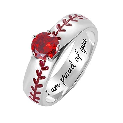 Anillo con nombre personalizado Personalización 1 anillo con piedra de nacimiento Anillo de plata esterlina para mujer(Plata 18)