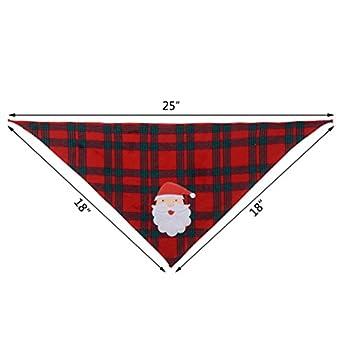 BingPet 2pcs de Noël Bandana pour Chien Motif écossais avec appliqué Fait Main (Père Noël et d'élan), Lavable Triangle Bavoirs Ceintures pour Chiot