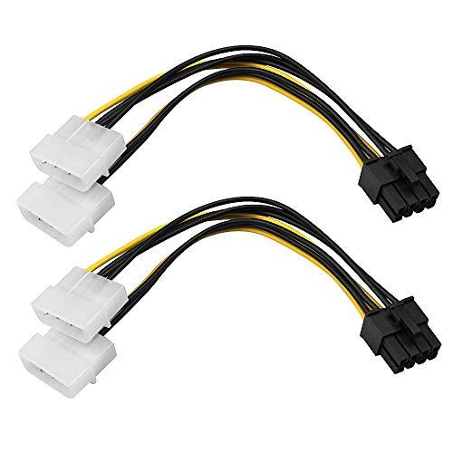 D-Orange 2 Unidades Dual 4 Pines a 8 Pines PCI-E 8 Pines PCI Express Amarrilo y Negro para la Tarjeta Grafica del Ordenador