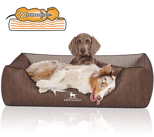 Knuffelwuff Orthopädisches Hundebett XXL Hundekorb Hundekissen Hundekörbchen aus Kunstleder Outlander 120 x 85cm Braun/Grau