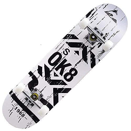 MQJ Skateboard per Adulti, Doppio Rocker Principiante Skateboard, Lettere Bianche, Ruote da Skateboard 95A, Schede Standard per Ragazzi, Ragazze, Adolescenti, Adulti, Inizi, Mazzo Di Acero 7-Ply, 79