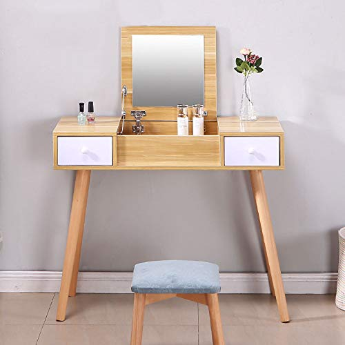 Make-up tabel, Modern hout kaptafel, met 2 laden en Flip Mirror, gemakkelijk schoon te maken, want Slaapkamer Modern Furniture,White