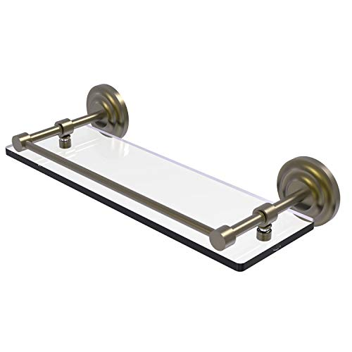 Allied Brass QN-1/16-GAL-ABR Que New 16 Inch Tempered Gallery Rail Glass Shelf, Antique Brass
