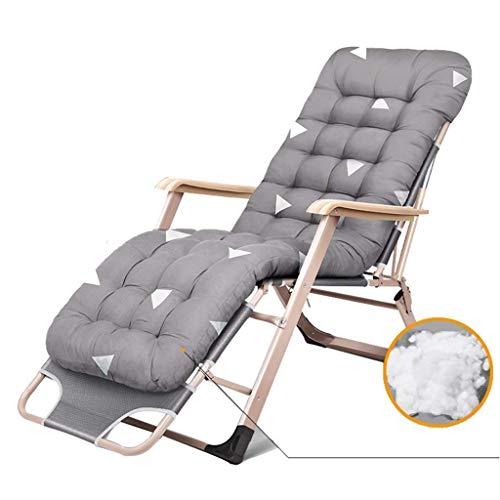DBCSD gris gran tamaño sillas de patio reclinables para personas pesadas al aire libre playa césped camping silla plegable cubierta silla con cojines apoyo 200kg