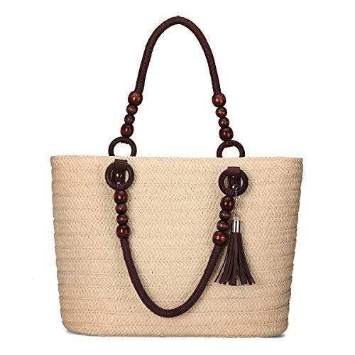 JOSEKO Bolso tejido de paja, bolso de playa de verano, bolso de hombro para mujer, bolso, bolso de mano, bolso de mensajero, para viajes y actividades al aire libre (Blanquecino # 6)