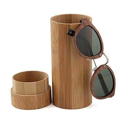 BIGBOBA Zylinder Brillenbox Bambus Holz Brillenschutzbox Praktische Brillenbox, braun