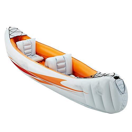 NgMik Comodidad y Durabilidad Explorador Duradero Dos o Tres Botes inflables Grupo de Pesca Engrosamiento de Kayak Aerodeslizador Inflable for Botes Enviar Bomba de Aire de hélice de Barco/Naranja