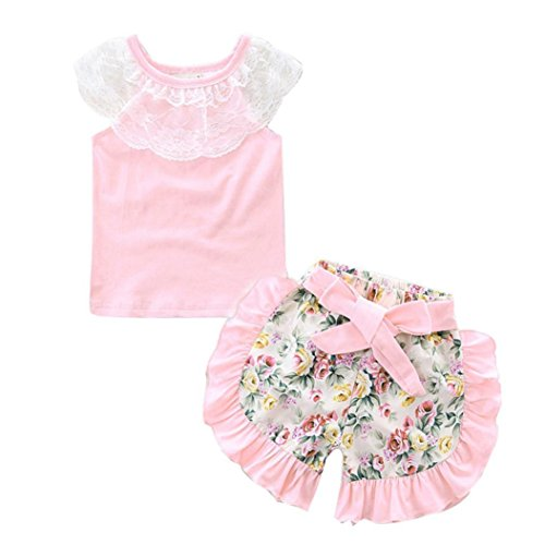 Ensemble de Tenues de Bébé Fille,❤️ LMMVP ❤️ 2Pcs Princesse Bébé Fille T-Shirt en Dentelle + Pantalons Courts Floraux (Rose, 70(3-6M))
