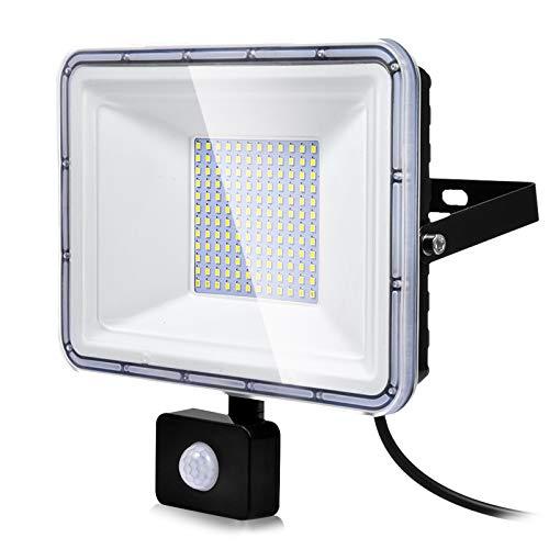 100W Foco LED con Sensor de Movimiento, Proyector LED Exterior Super Brillante 8000LM 6500K Blanco Frío Impermeable IP67 Floodlights Iluminación LED Detector para Jardín, Patio, Garaje