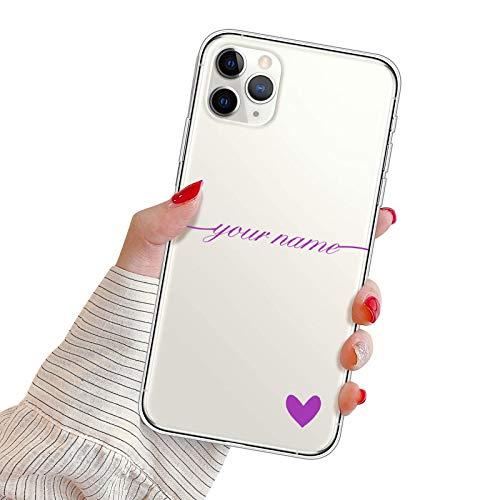 Suhctup Funda Personaliza Compatible con Huawei P8 Lite 2017 Carcasa de Silicona con Amor y Texto Personablizable TPU Ultrafina Suave Transparente Antigolpes Proteccion Caso(Púrpura)