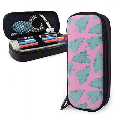 OUYouDeFangA - Bolsa de almacenamiento de piel sintética con diseño de hojas verdes tropicales, bolsa de papelería portátil para estudiantes, oficina, carteras con cremallera, bolsa multifunción para maquillaje