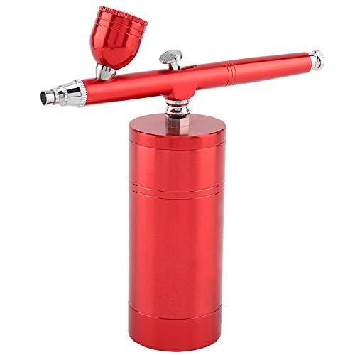 Redxiao Airbrush-Kit, 0,3 mm Mini-Luftkompressor-Spritzpistole Airbrush-Set 7CC Kapazität für Kuchen dekorieren Make-up Art Nagel Modell Malerei Tattoo Maniküre(Rot (EU Plug))