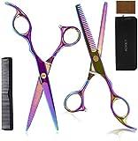 Haarschere, Rostfreie Haarschere Friseurschere, Professionell 7 in 1 Friseur-Sets, Premium Scharfe Friseurscheren und Effilierschere Haarschere, Für Männer Frauen Kinder