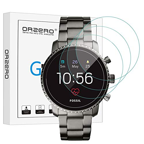 (3 Pack) Orzero for Fossil Gen 4 Q Explorist HR Smartwatch Tempered Glass Screen Protector [Upgraded], 2.5D Arc Edges 9 Hardness HD Anti-Scratch Bubble-Free (Lifetime Replacement)
