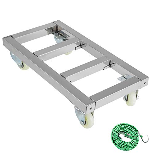 BestEquip Furniture Dolly 1600LBS Capacity Stainless Steel Moving Dolly 12x24 Inch Wheeled Platform Heavy Duty Movers with 4 Swivel Wheels for Furniture Moving Handling Equipment