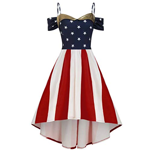 Best Review Of Women's Spaghetti Strap 4th of July Mini Dress V-Neck Off-Shoulder High Low Casual Dr...